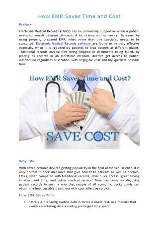 How EMR saves Time and Cost?