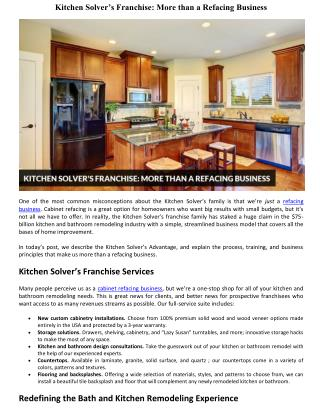 Kitchen Solver's Franchise: More than a Refacing Business