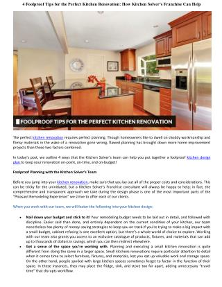 4 Foolproof Tips for the Perfect Kitchen Renovation: How Kitchen Solver's Franchise Can Help