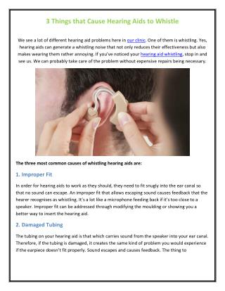 3 Things that Cause Hearing Aids to Whistle