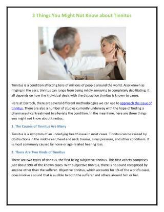 3 Things You Might Not Know about Tinnitus