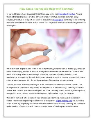 How Can a Hearing Aid Help with Tinnitus?
