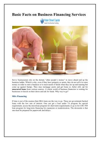 Basic Facts on Business Financing Services