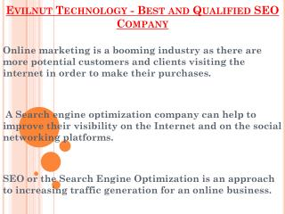 Best and Qualified SEO Company - Evilnut Technology