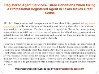 Registered Agent Services- Three Conditions When Hiring a Professional Registered Agent in Texas Makes Great Sense