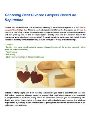 Choosing Best Divorce Lawyers Based on Reputation