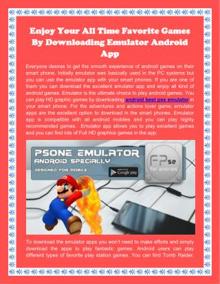 Enjoy Your All Time Favorite Games By Downloading Emulator Android App