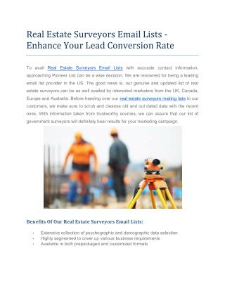 Real Estate Surveyors Email lists | Pioneer Lists