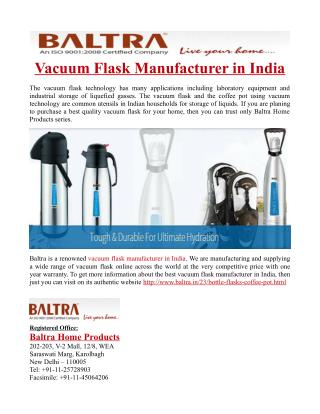 Vacuum Flask Manufacturer in India