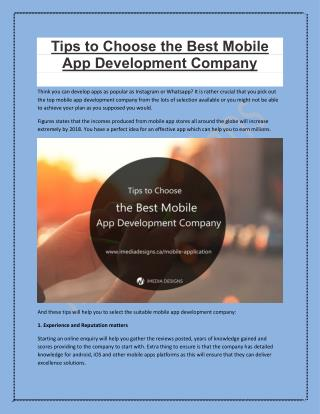 Tips to Choose Mobile App Development Company | iMedia Designs