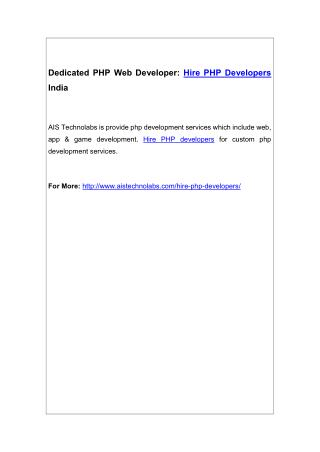 Dedicated PHP Web Developer: Hire PHP Developers India