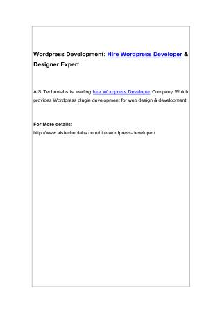 Wordpress Development: Hire Wordpress Developer & Designer Expert