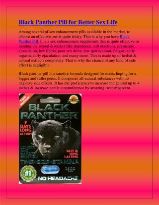 Black Panther Pill for Better SexLife
