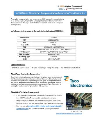 A-700AQ-4 – An aerospace component and spare part by Tyco Electronics