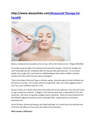 Ultrasound Therapy for Facelift