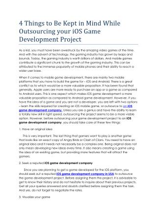 4 Things to Be Kept in Mind While Outsourcing your iOS Game Development Project