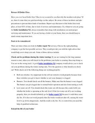 Beware Of Boiler Fires