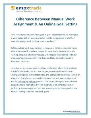Difference Between Manual Work Assignment & An Online Goal Setting
