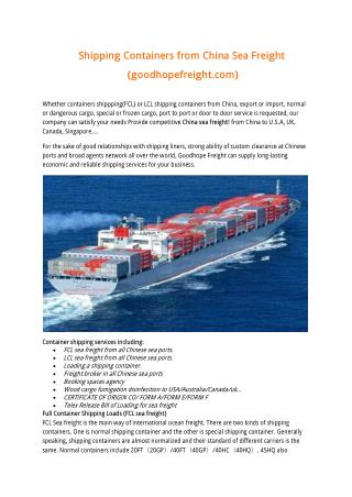 Shipping Containers from China Sea Freight
