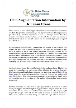 Chin Augmentation Information by Dr. Brian Evans