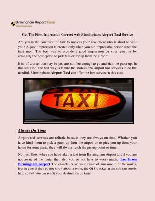 Get The First Impression Correct with Birmingham Airport Taxi Service