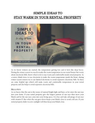 SIMPLE IDEAS TO STAY WARM IN YOUR RENTAL PROPERTY