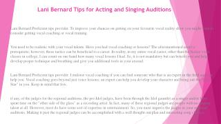 Lani Bernard Tips for Acting and Singing Auditions