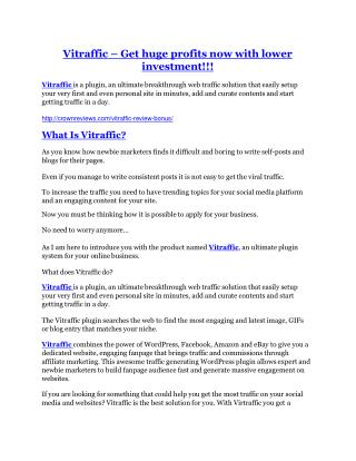 Vitraffic review and (MEGA) bonuses – Vitraffic