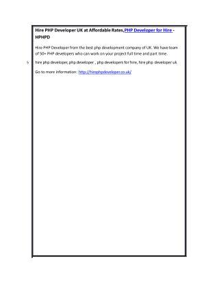 Hire PHP Developer UK at Affordable Rates,PHP Developer for Hire - HPHPD