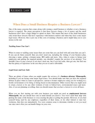When does a small business require a business lawyer