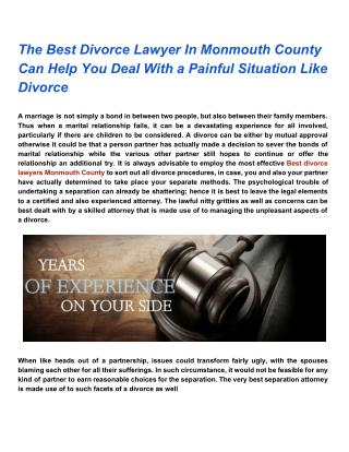 The Best Divorce Lawyers In Monmouth County Can Help You Deal With a Painful Situation Like Divorce