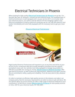 Electrical Technicians In Phoenix
