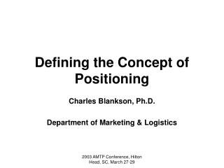 Defining the Concept of Positioning