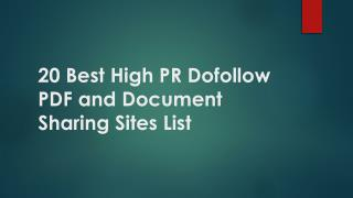 20 Best High PR Dofollow PDF and Document Sharing Sites List