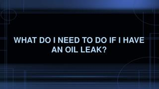 What Do I Need To Do If I Have An Oil Leak?