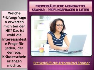 Freiverkäufliche Arzneimittel Seminar - Prüfungsfragen & Listen