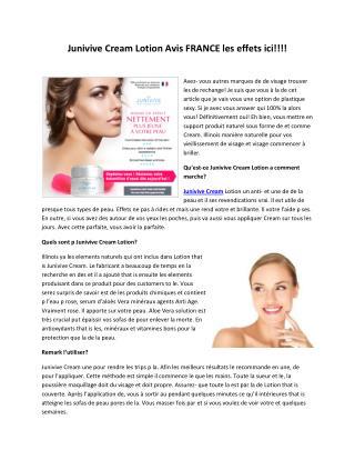 Junivive Cream - Il rend votre peau charmante et belle