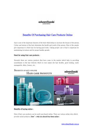 Benefits Of Purchasing Hair Care Products Online