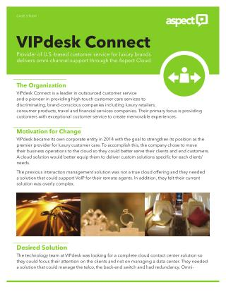 Aspect Cloud service for VIPdesk Connect customer service providers