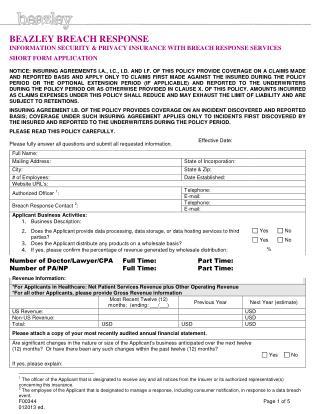 Dentist breach response services limited short form application