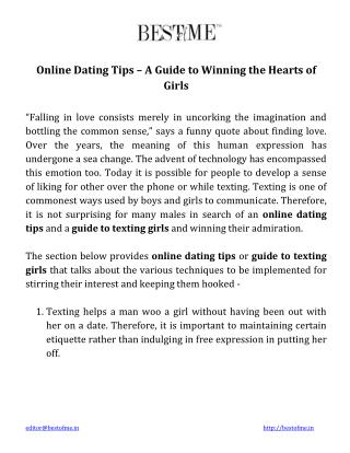 Online Dating Tips - A Guide to Winning the Hearts of Girls