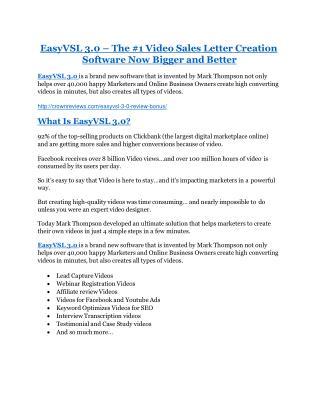 EasyVSL 3.0 review in detail and (FREE) $21400 bonus