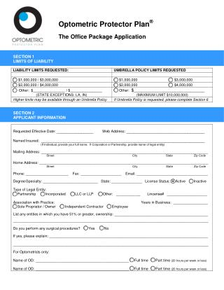 The Office Package Application - Optometric Protector Plan