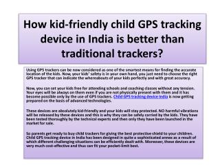 How kid-friendly child GPS tracking device in India is better than traditional trackers