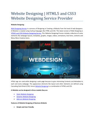 Website Designing | HTML5 and CSS3 Website Designing Service Provider