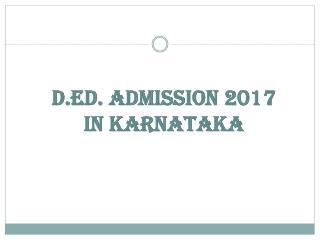 D.Ed Admission 2017 In Karnataka