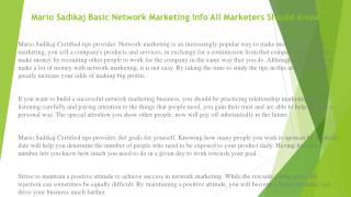 Mario Sadikaj Use This Advice for Network Marketing Help