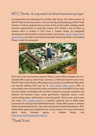 World Trade Center Noida- A corporate hub where businesses prosper