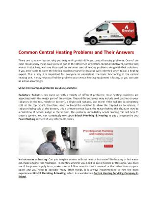 Central Heating Servicing in Bristol