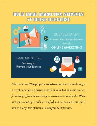 Bulk Email Marketing Services at Brand Recourse